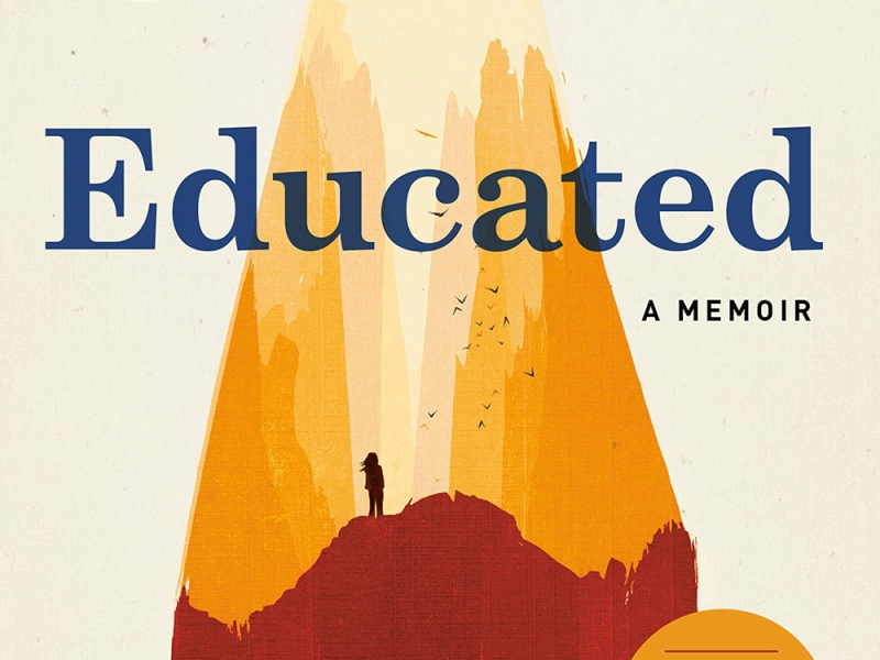 Educated: A Memoir. Illustration of the silhouette of a person climbing a mountain that is also the edge of a large pencil