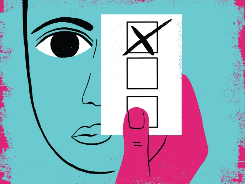 Illustration of a face with a hand holding up a ballot in front of the eye