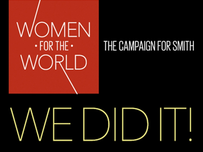 Black, red, and yellow graphic for Women for the World Campaign