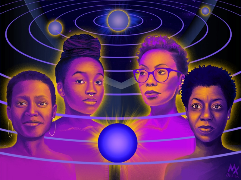Dark blue, purple and pink drawing of the four speakers against the solar system