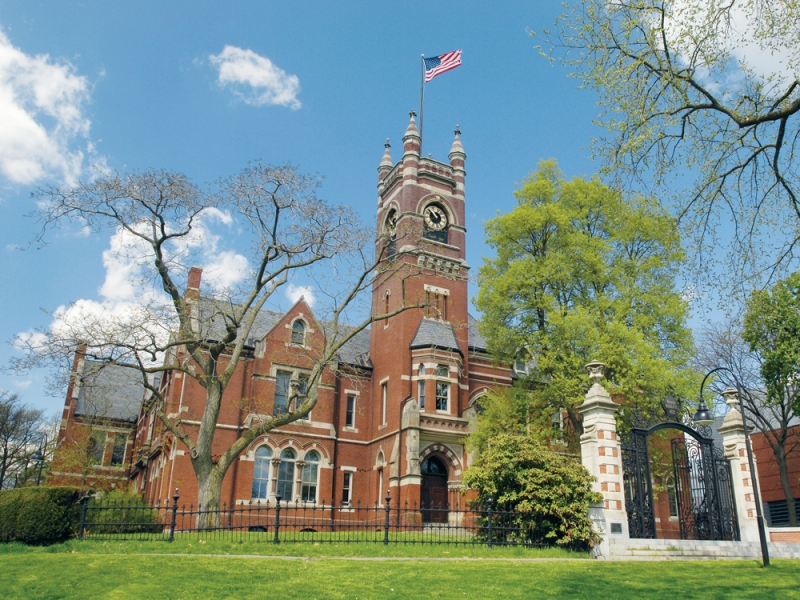 College hall in spring