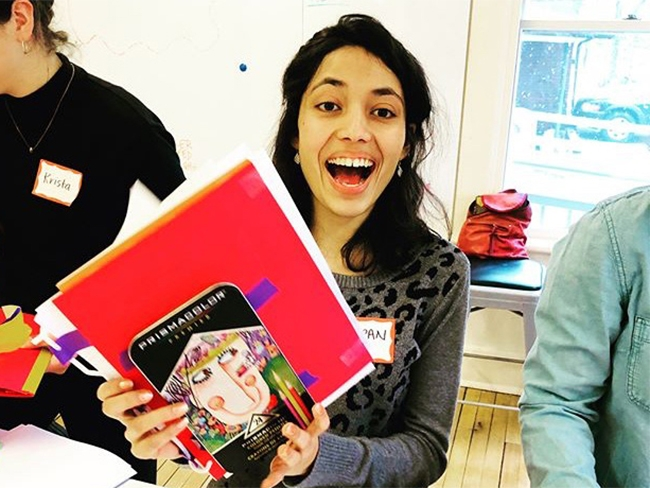 Darpan Bohara '18 prepares to design the perfect notebook in the Interterm Introduction to Design Thinking course.