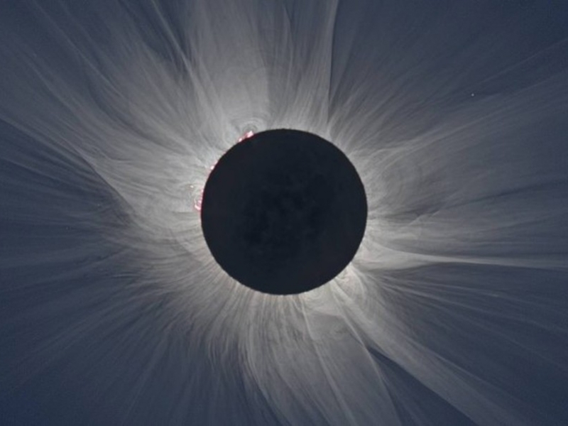 Photo showing a total solar eclipse
