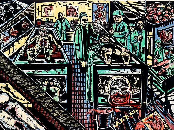 Eric Avery, American, born 1948. As It Is, from Damn It Suite, 1987 Woodcut printed in color on handmade Mulberry paper. Purchased. Permanent collection SCMA.
