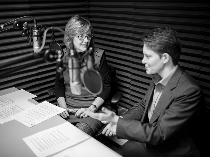 Kathleen McCartney and Dorie Clark in an audio studio