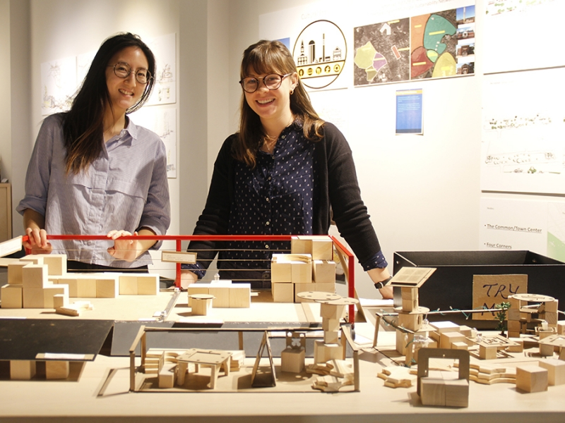 "Flora Weil '17 (left) and Sarah Duckett '17, two of the nine Smithies who designed ""parklets"" for the City of Northampton. Photo by Isabella Casini '17."