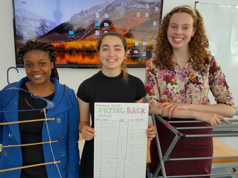 Yolanda Chigiji '21, Emma Krasky '21 and Julianne Borger '21 were on the winning team in the House Sustainability Challenge.