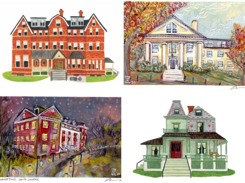 Grid of four watercolors of Smith houses