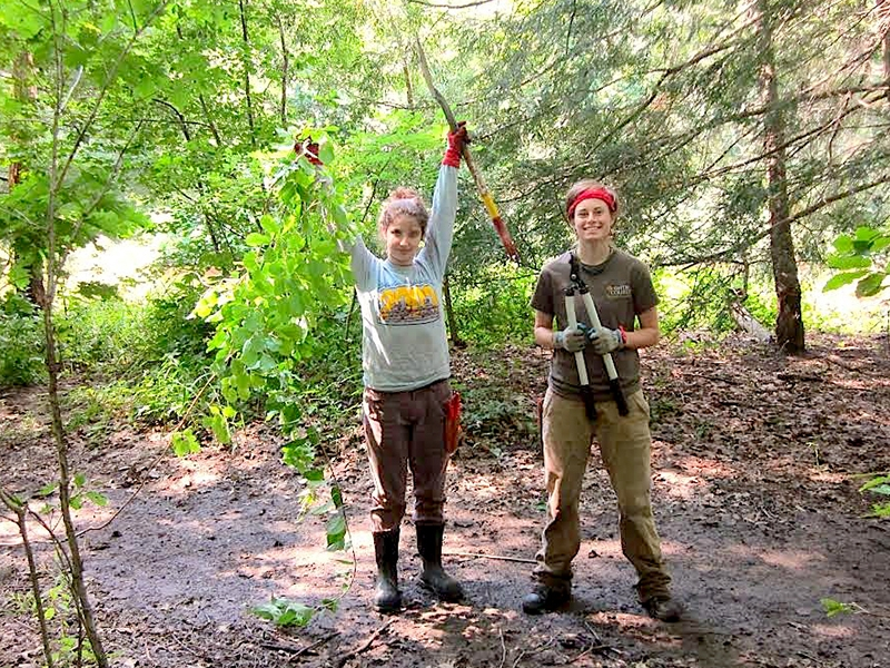 Meg Kirsch '17 (right) and Rebecca Tishler of Mount Holyoke College, help pull invasive plants last summer from the banks of the Mill River on Smith's campus.