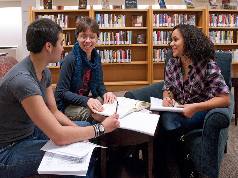 Three students work together in Neilson Library