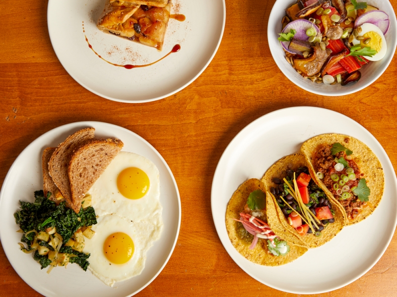Four plates, apple galette, breakfast, tacos and grain bowl