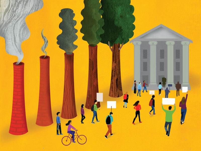 Illustration of people marching toward a building with stone columns holding signs.