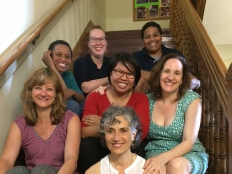 Some Matahari project members (clockwise from left): Smith Professor Lisa Armstrong, Digital Scholarship Librarian Miriam Neptune, Julissa Colon AC '14, Martha Neubert M.A.T. '16, Professors Jennifer Guglielmo and Michelle Joffroy, and Matahari Director M
