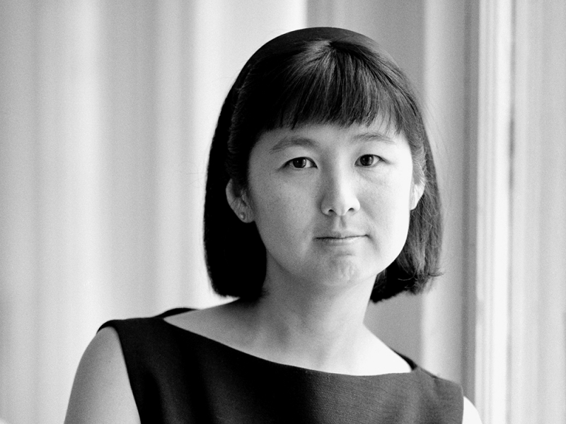 Black and white portrait of Maya Lin
