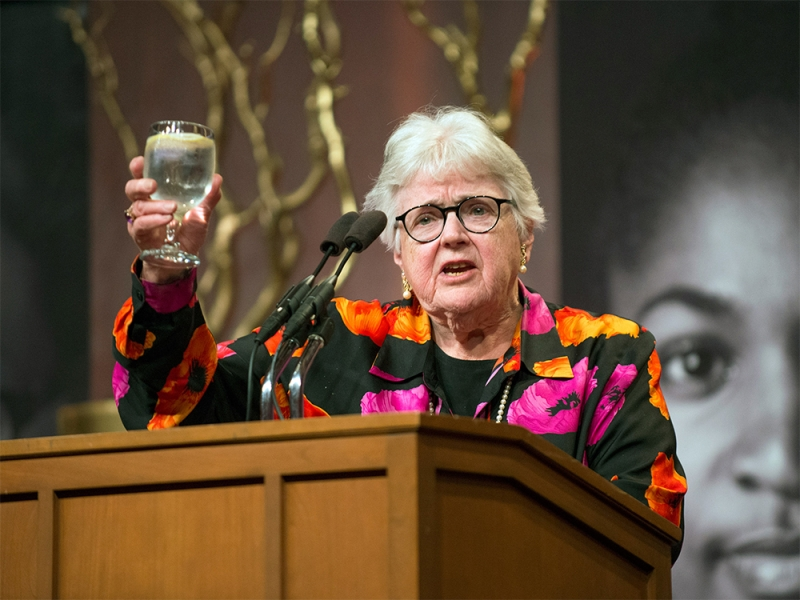 Mary Maples Dunn offers a toast at the campaign launch dinner