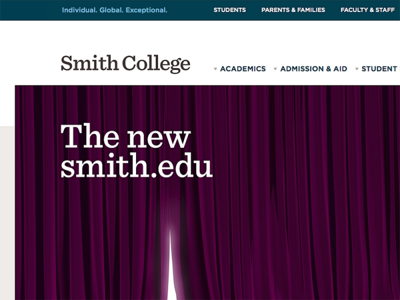 The Smith home page hidden behind a purple curtain with the text The New Smith.edu