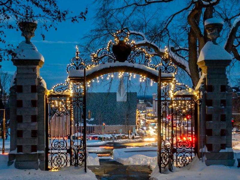 Grecourt Gate with winter lights