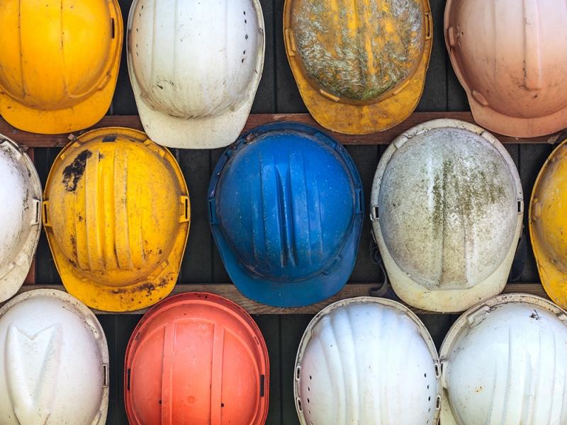 Assortment of construction safety helmets