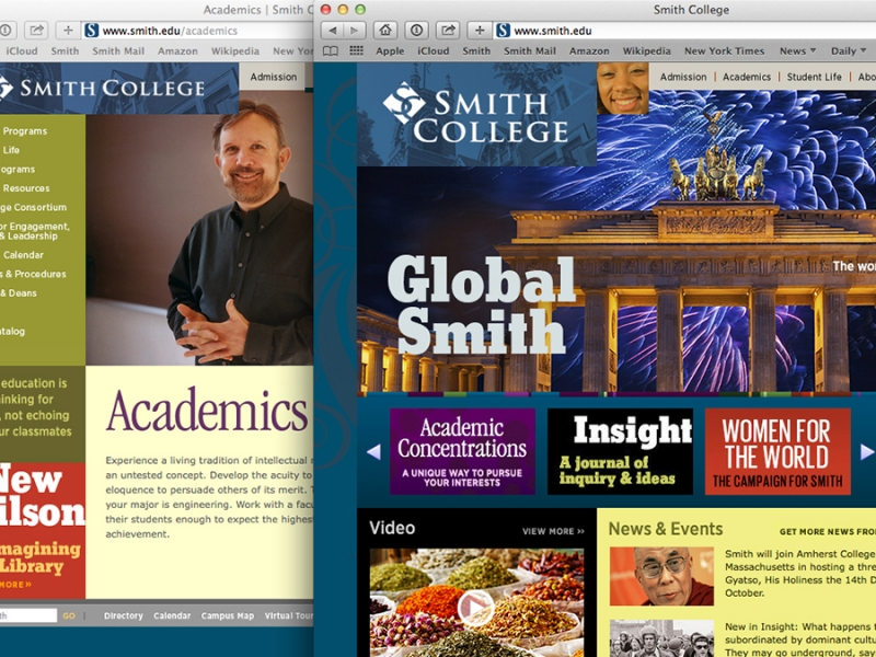 Screen grab showing the old Smith website home page