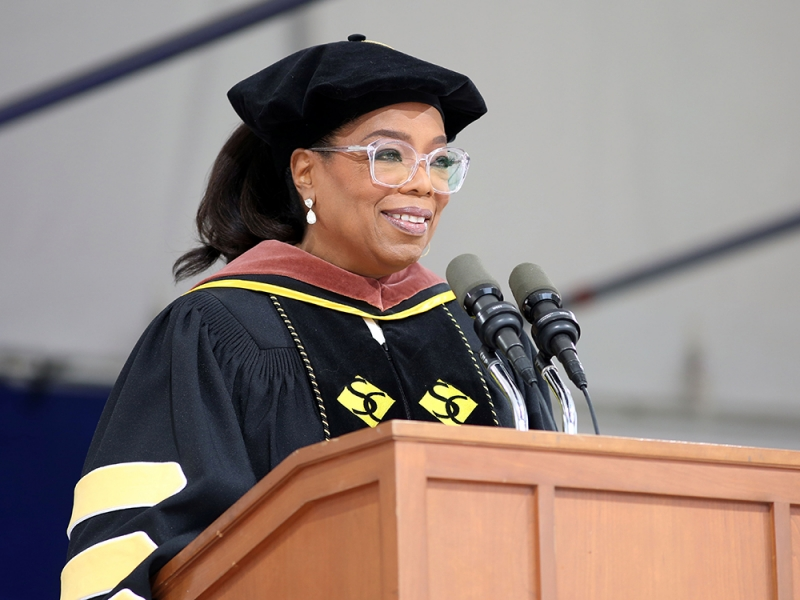 Oprah Winfrey speaking at the Commencement podium