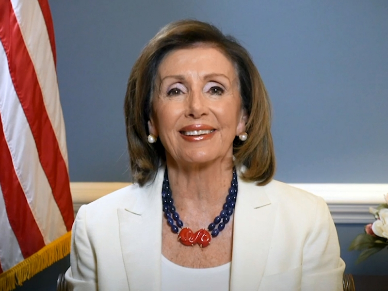 Nancy Pelosi delivering a commencement address to Smith College 2020 graduates