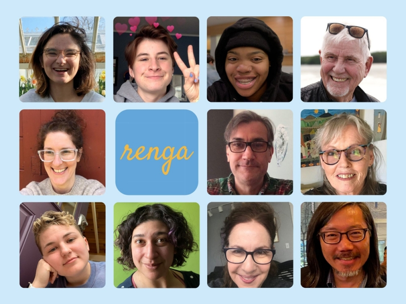 """Collage of selfies, including students and professors with a range of gender presentations. In the middle is """"renga"""" against a blue background"""