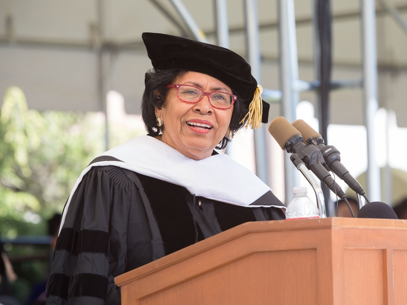 Ruth Simmons at the Commencement podium