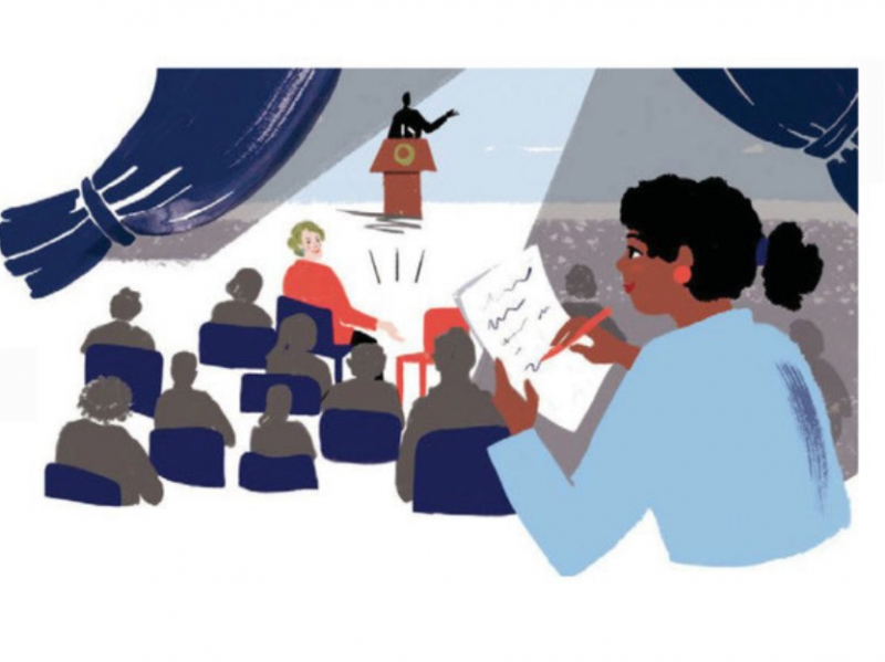 Illustration of a black reporter taking notes during a speech