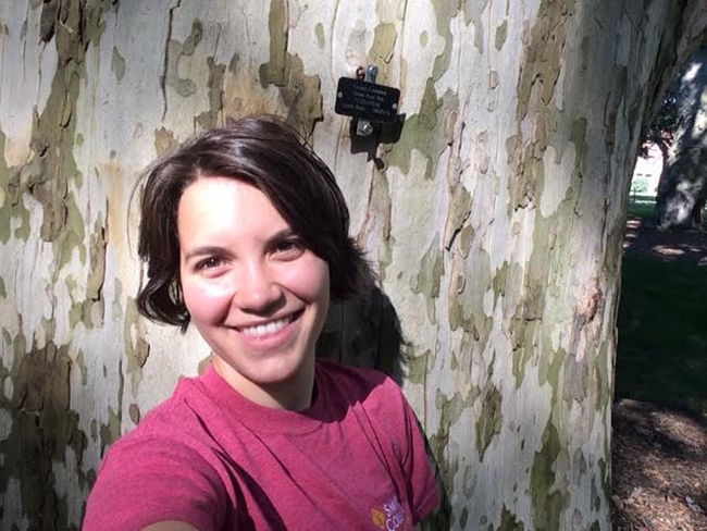 Taz Mueller '18 in a selfie with the London Planetree on Seelye Lawn, one of her favorite campus trees.