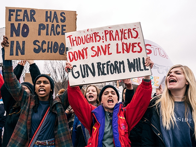 A demonstration organized by Teens For Gun Reform, a group created in response to the shooting at Marjory Stoneman Douglas High School. Lorie Shaull, CC BY-SA 2.0, via Wikimedia Commons.