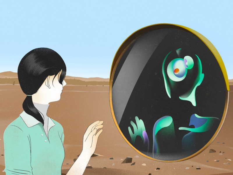 Illustration of a person looking into a mirror with a distorted reflection