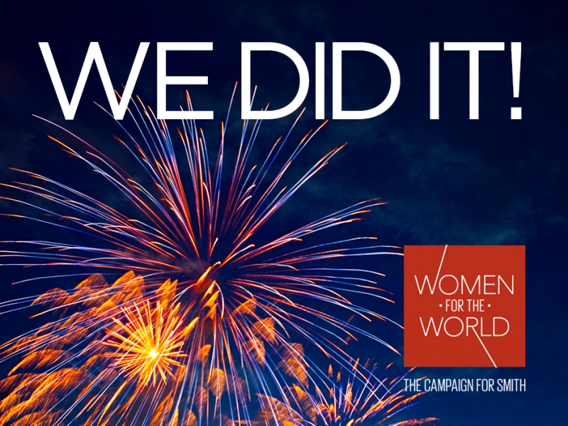 Fireworks in a night sky with text saying We Did It! The Campaign for Smith