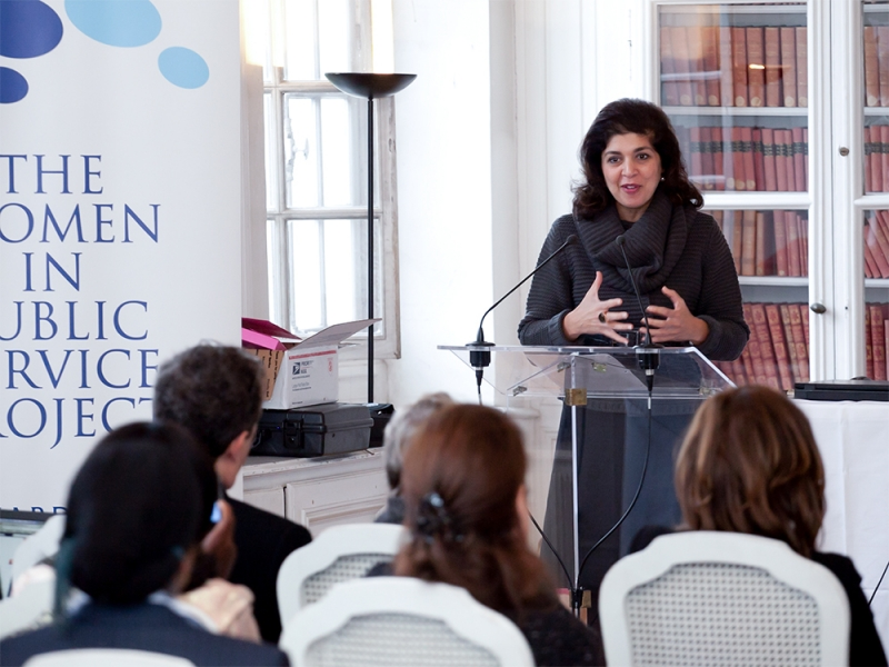 Farah Pandith speaking to a group in Paris