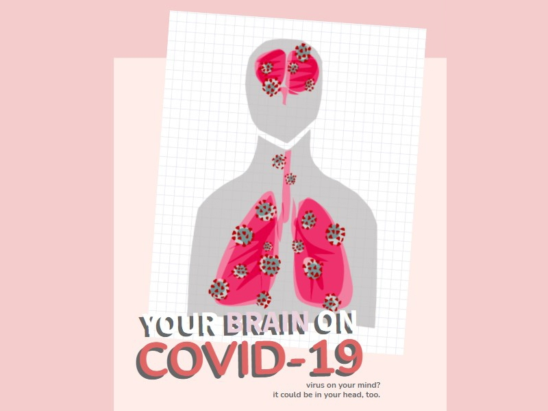 """text """"Your Brain on Covid. Virus on your mind? It could be in your head, too."""""""