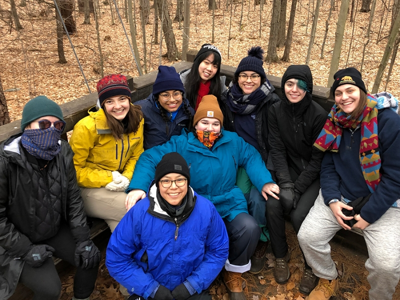 Students in the interterm Outdoor Adventure Leadership course at MacLeish Field Station
