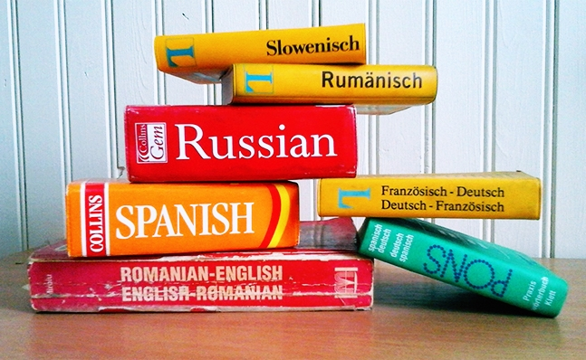 Stack of dictionaries in different languages