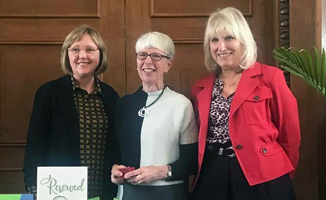 President Kathleen McCartney; Mary Grant '70; Susan Greene '68, President of the Alumnae Association Board of Directors