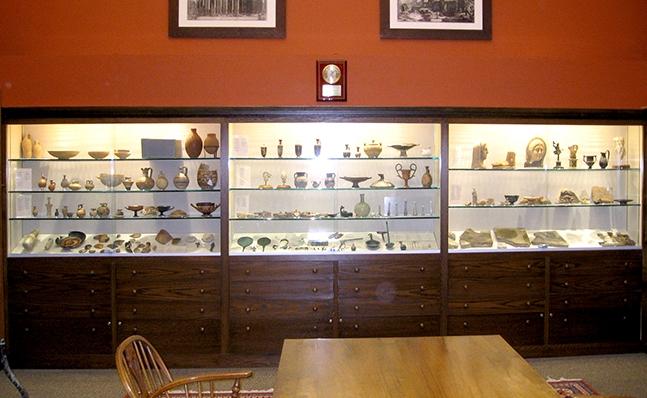 Display case at the Van Buren Antiquities room, Smith College