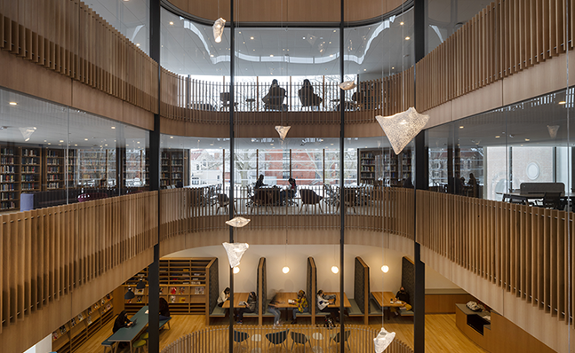 Interior shot of multiple levels of the Neilson Library