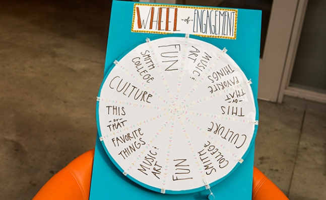 "Photo of the ""Wheel of Engagement,"" an activity set up in the Campus Center"
