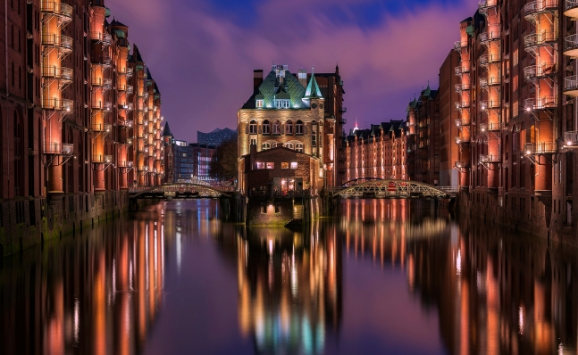 Hamburg Germany Speicherstadt moated castle
