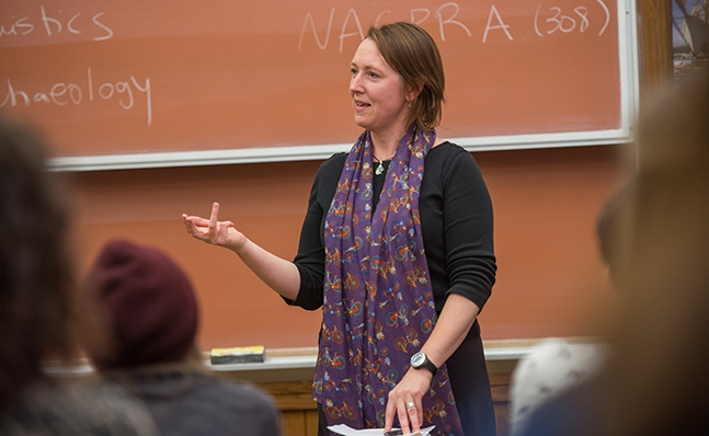 Elizabeth Klarich teaching in classroom, Smith College
