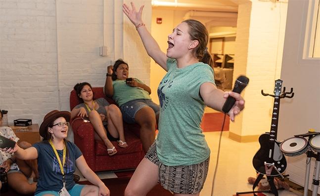 Student singing karaoke