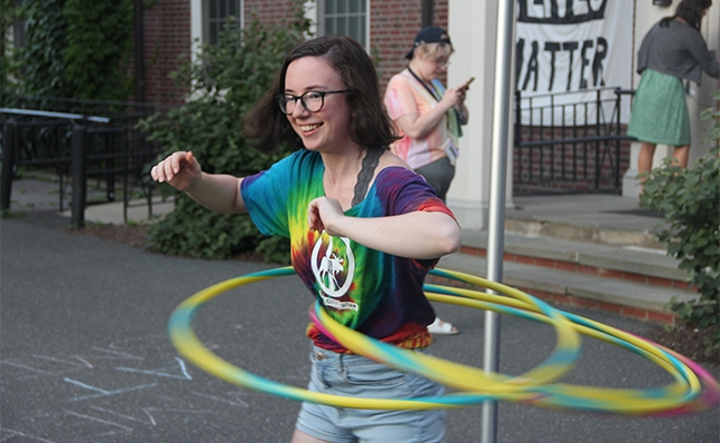 Student hula-hooping