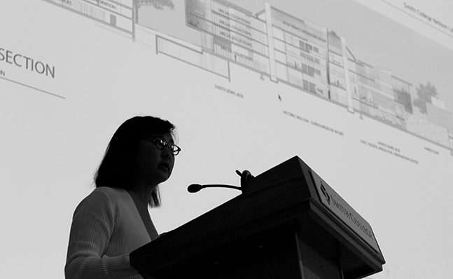 Maya Lin discussing the new Neilson Library