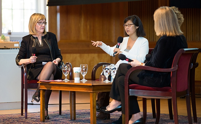 Kathleen McCartney and Maya Lin on stage discussing the Neilson Library design