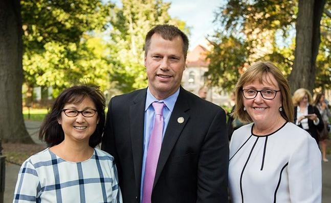 Maya Lin, Northampton Mayor David Narkewicz and President McCartney