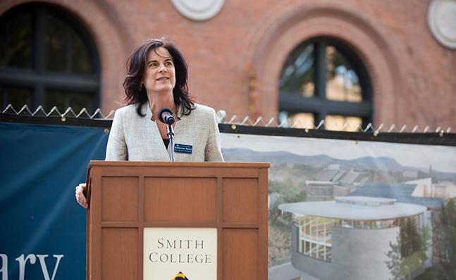 Katherine Rowe speaks at the Neilson groundbreaking
