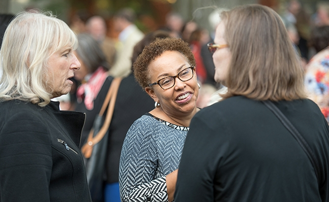 Three alumnae at the Neilson groundbreaking