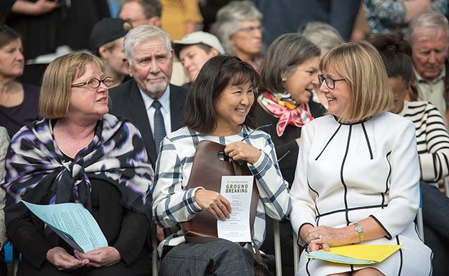 Deborah Duncan, Maya Lin and Kathy McCarney at the Neilson groundbreaking